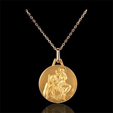Medalion rotund reprezentându-l pe Sfântul Cristofor 18mm - aur galben de 18K