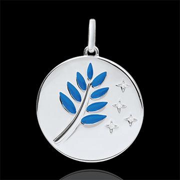 Medalla Rama de Olivo - Laca Azul - 4 Diamantes - 9 quilates