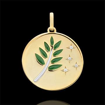 Medalla Rama de Olivo - Laca Verde - 4 Diamantes - 9 quilates