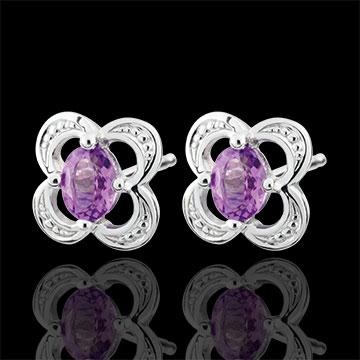 Mini Flora Amethyst Earrings