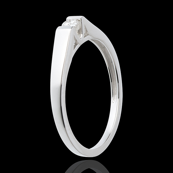 Modern Classic Solitaire Ring in White Gold - 0.08 carat