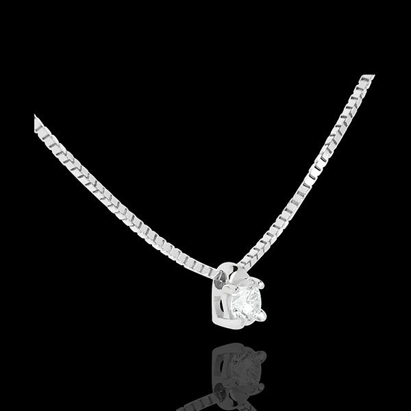 Naszyjnik z białego złota 18-karatowego z jednym diamentem - 0,11 karata