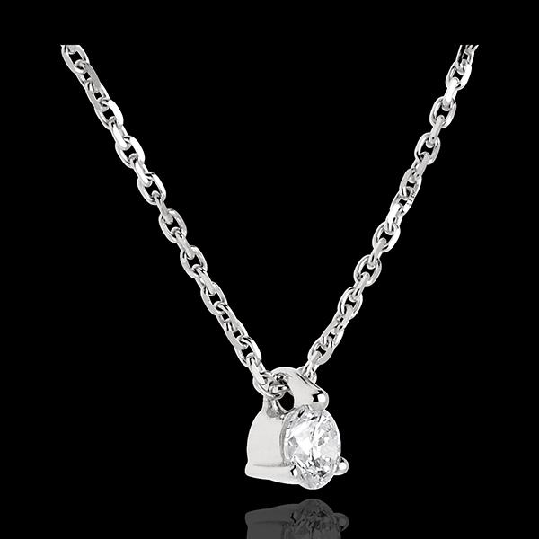 Naszyjnik z białego złota 18-karatowego z jednym diamentem - 0,16 karata