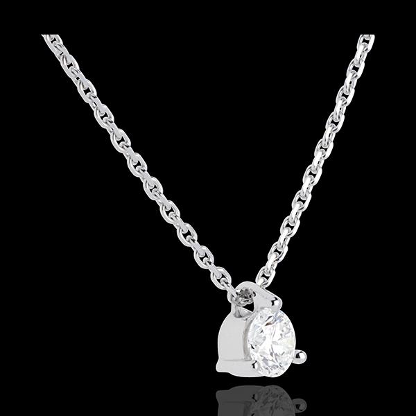 Naszyjnik z białego złota 18-karatowego z jednym diamentem - 0,26 karata