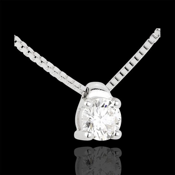 Naszyjnik z białego złota 18-karatowego z jednym diamentem (bardzo duży model) - 0,26 karata