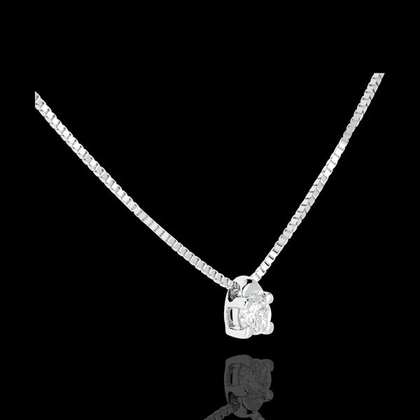 Naszyjnik z białego złota 9-karatowego z jednym diamentem - diament 0,07 karata - 45cm