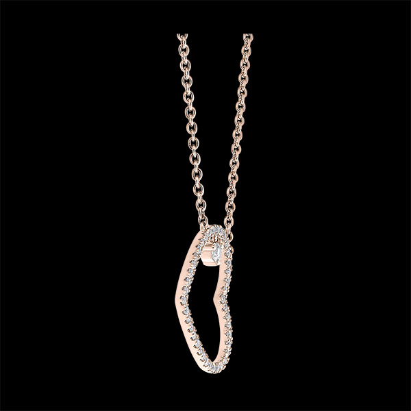 Naszyjnik Cenny sekret - Pochylone serduszko - 9 karatowe różowe złoto i diamenty