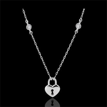 Naszyjnik Drogocenny Sekret - Serce - złoto białe 9-karatowe