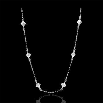 Naszyjnik Geneza - Diamenty nieoszlifowane - złoto białe 9-karatowe