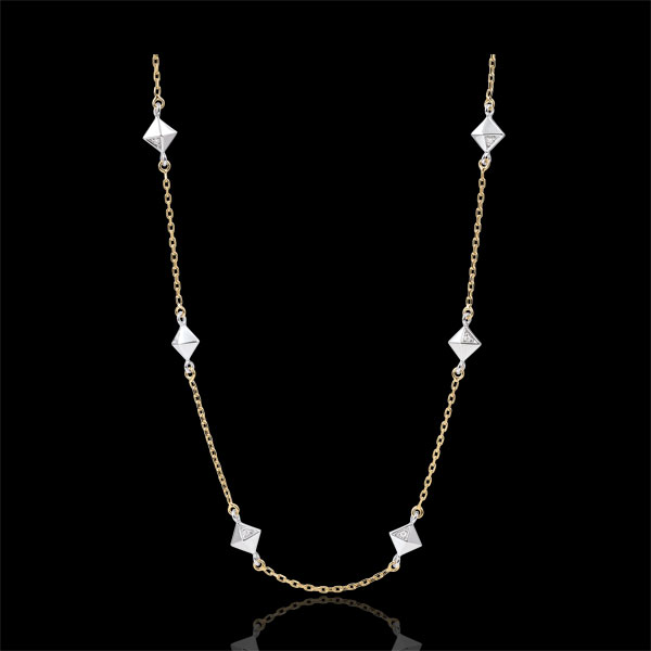 Naszyjnik Geneza - Diamenty nieoszlifowane - złoto białe i złoto żółte 9-karatowe