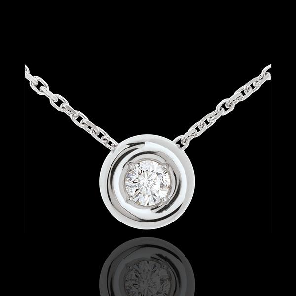 Naszyjnik Kielich z diamentem (bardzo duży model) - złoto białe 18-karatowe