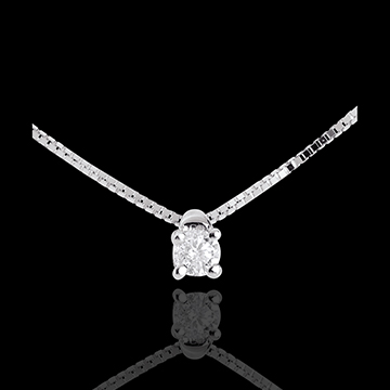 Naszyjnik z białego złota 18-karatowego z jednym diamentem - diament 0,07 karata