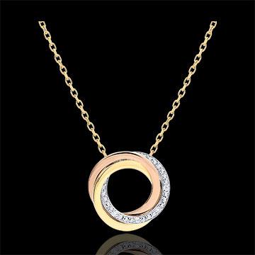 Naszyjnik Saturn - trzy rodzaje złota - diamenty - trzy rodzaje złota 9-karatowego