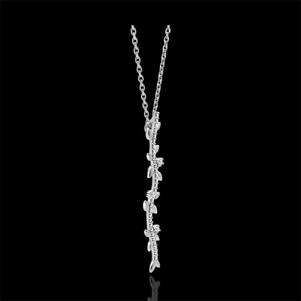 Naszyjnik w kształcie łodygi Zaczarowany Ogród - Królewskie Liście - złoto białe 9-karatowe i diamenty