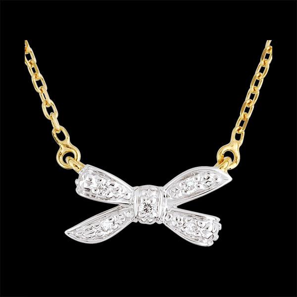Naszyjnik w kształcie węzła Moja Droga z białego i żółtego złota 9-karatowego