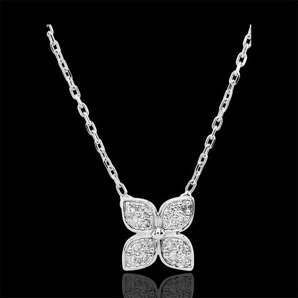 Naszyjnik Kwiat Wieczności - 16 diamentów - złoto białe 9-karatowe