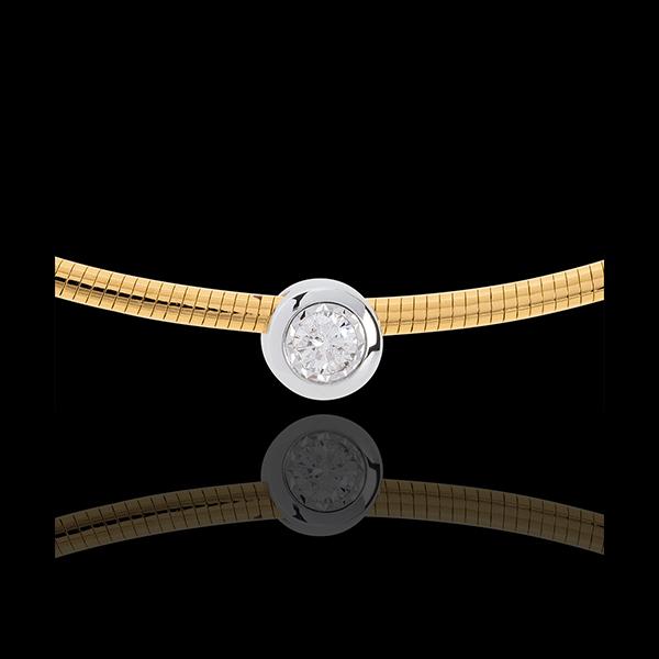Naszyjnik Linka z diamentem (bardzo duży model) - złoto białe i złoto żółte 18-karatowe
