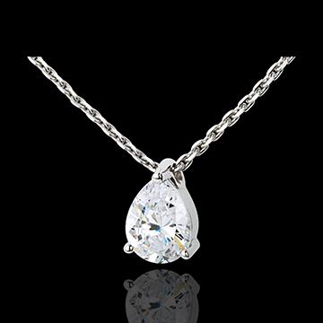 Naszyjnik Łza z diamentem - złoto białe 18-karatowe - 1,25 karata
