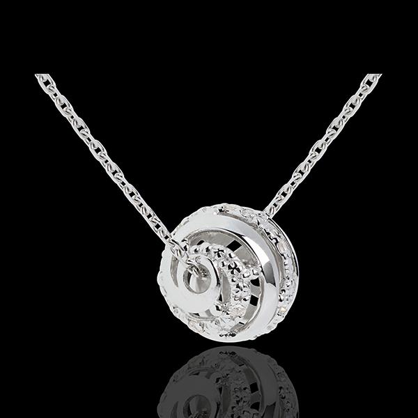 Naszyjnik Miłość w Klatce z białego złota 9-karatowego - 11 diamentów - 45cm