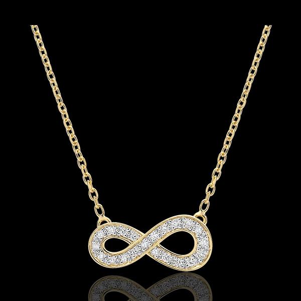 Naszyjnik Nieskończoność - złoto żółte 9-karatowe i diamenty