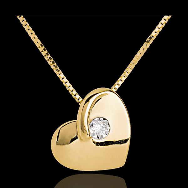 Naszyjnik Oszalałe Serce z żółtego złota 18-karatowego z diamentami
