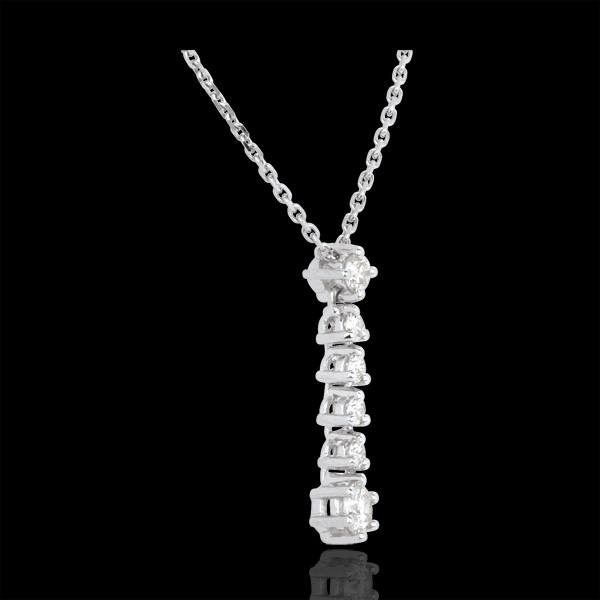 Naszyjnik Płatki z białego złota 18-karatowego i diamentów
