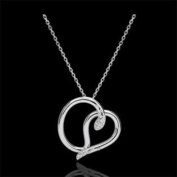 Naszyjnik Spacer w Wyobraźni - Wąż Miłości - złoto białe 9-karatowe i diamenty