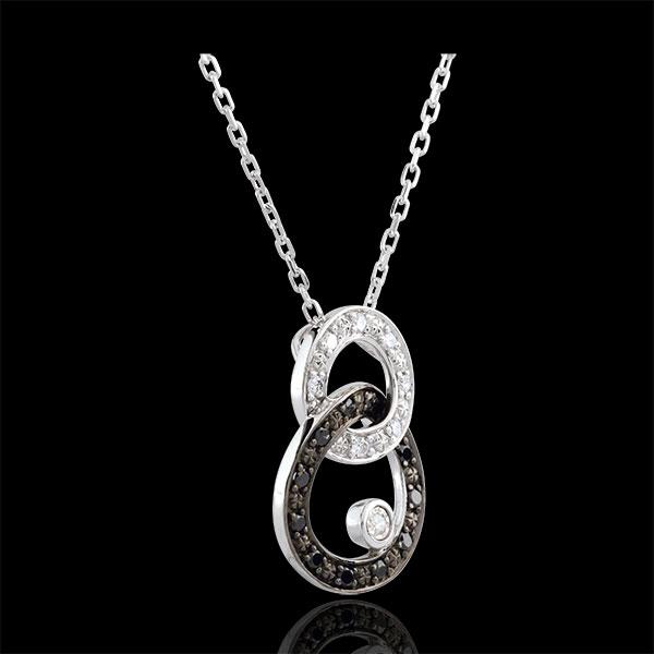 Naszyjnik Światłocień z białego złota 9-karatowego - Dwa Księżyce - diamenty czarne i białe