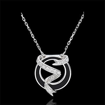 Naszyjnik Światłocień - Gwieździsta Wstążka - czarna laka i diamenty - złoto białe 18-karatowe
