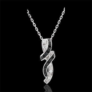 Naszyjnik Światłocień - Randka - złoto białe 9-karatowe i czarny diament