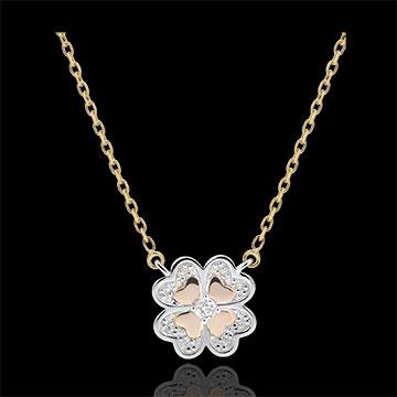 Naszyjnik Świeżość - Błyszcząca Koniczyna - trzy rodzaje złota i diamenty - trzy rodzaje złota 9-karatowego