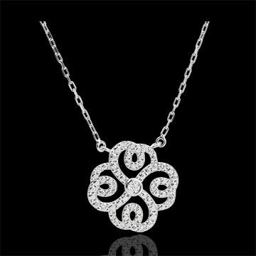 Naszyjnik Świeżość - Koniczyna w Arabeski - złoto białe 9-karatowe i diamenty