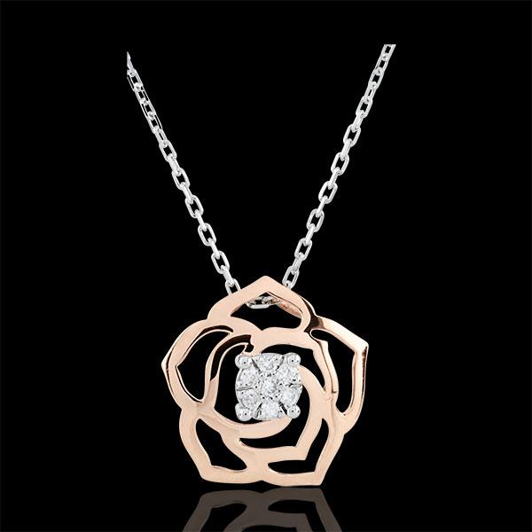 Naszyjnik Świeżość - Róża Absolutna - złoto białe i złoto różowe 9-karatowe