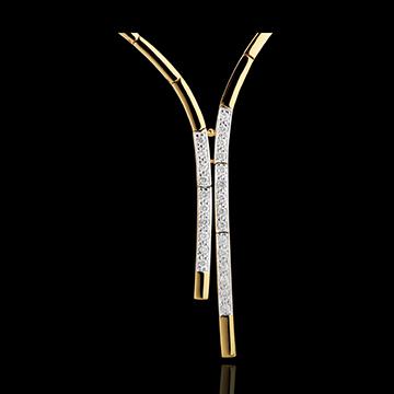 Naszyjnik wieczorowy - złoto białe i złoto żółte 18-karatowe