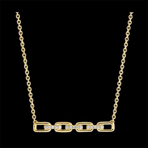 Naszyjnik Wschodnie spojrzenie - Kubańskie ogniwo - 9 karatowe żółte złoto i diamenty
