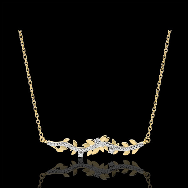 Naszyjnik Zaczarowany Ogród - Królewskie Liście - złoto żółte 9-karatowe i diamenty