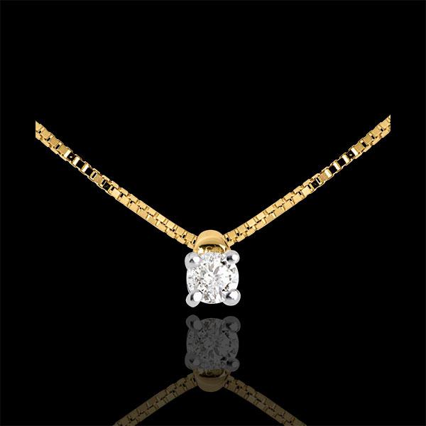 Naszyjnik z żółtego złota 18-karatowego z jednym diamentem - 0,07 karata