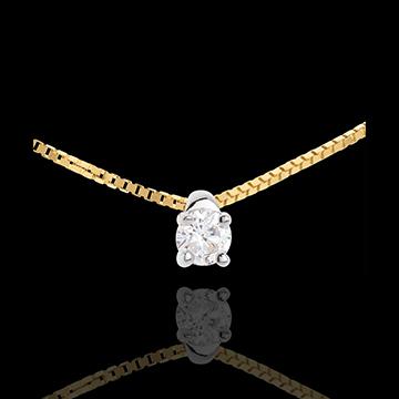 Naszyjnik z żółtego złota 18-karatowego z jednym diamentem - 0,16 karata