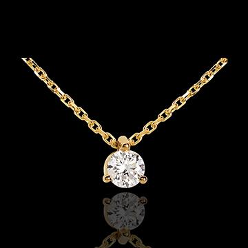 Naszyjnik z żółtego złota 18-karatowego z jednym diamentem - 0,205 karata
