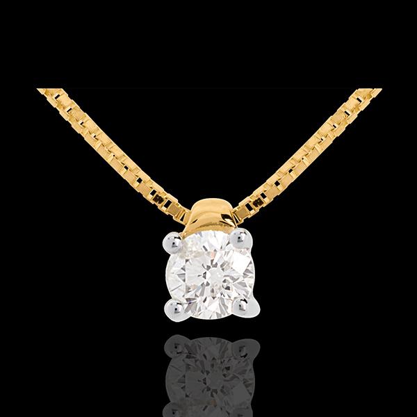 Naszyjnik z żółtego złota 18-karatowego z jednym diamentem (bardzo duży model) - 0,26 karata