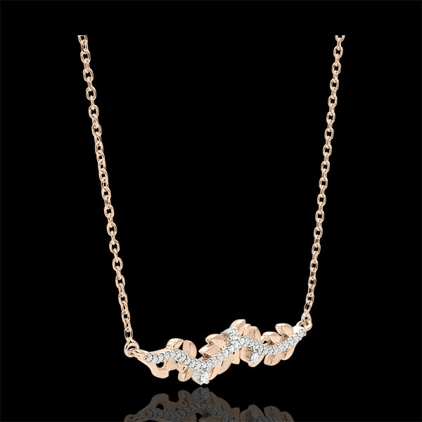 Necklace Enchanted Garden - Foliage Royal - Pink gold and diamonds - 9 carat