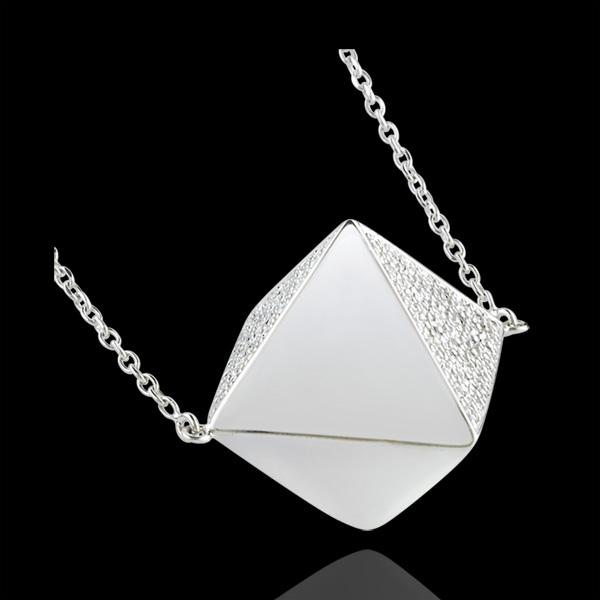 Necklace Genesis - Long necklace rough diamond - white gold - 18 carat