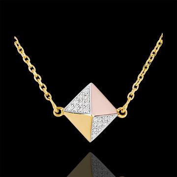 Necklace Genesis - Rough Diamond 3 golds - 18 carat