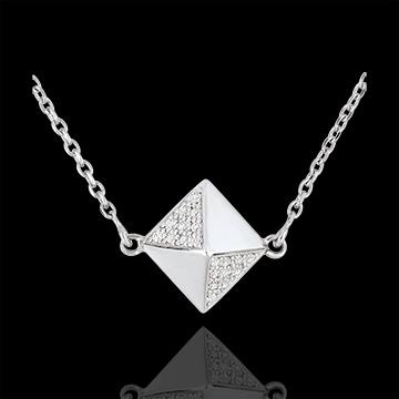 Necklace Genesis - Rough diamond white gold - 9 carat