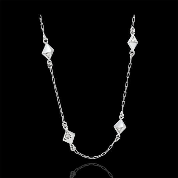 Necklace Genesis - Rough Diamonds - White Gold - 9 carat
