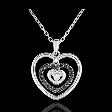 Necklace Printed Heart White Gold - Black Diamonds