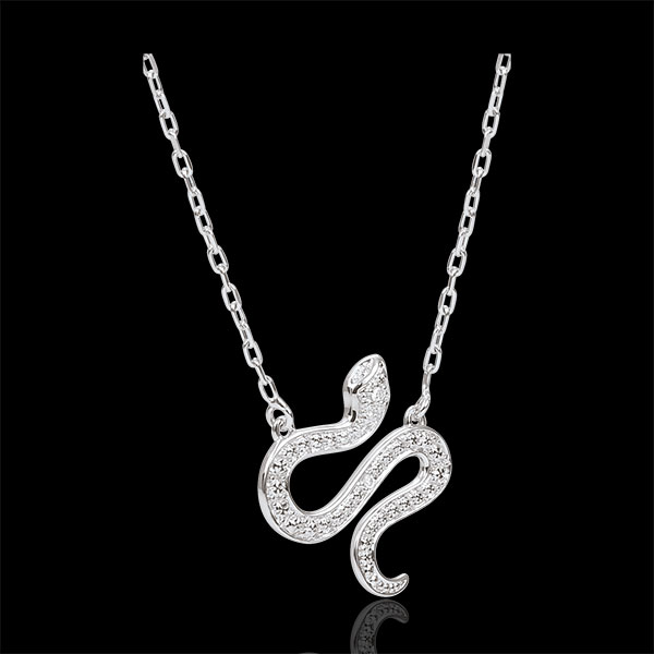 Necklace Imaginary Walk - Bewitching Snake - white gold and diamonds