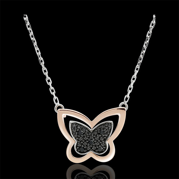 Necklace Imaginary Walk - Lunar Butterfly - rose gold and black diamonds