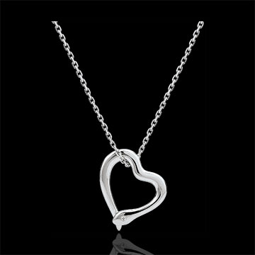 Necklace Imaginary walk - Snake of love - small model - white gold diamond- 9 carats