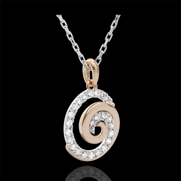 Necklace Loving Spiral White and Pink Gold